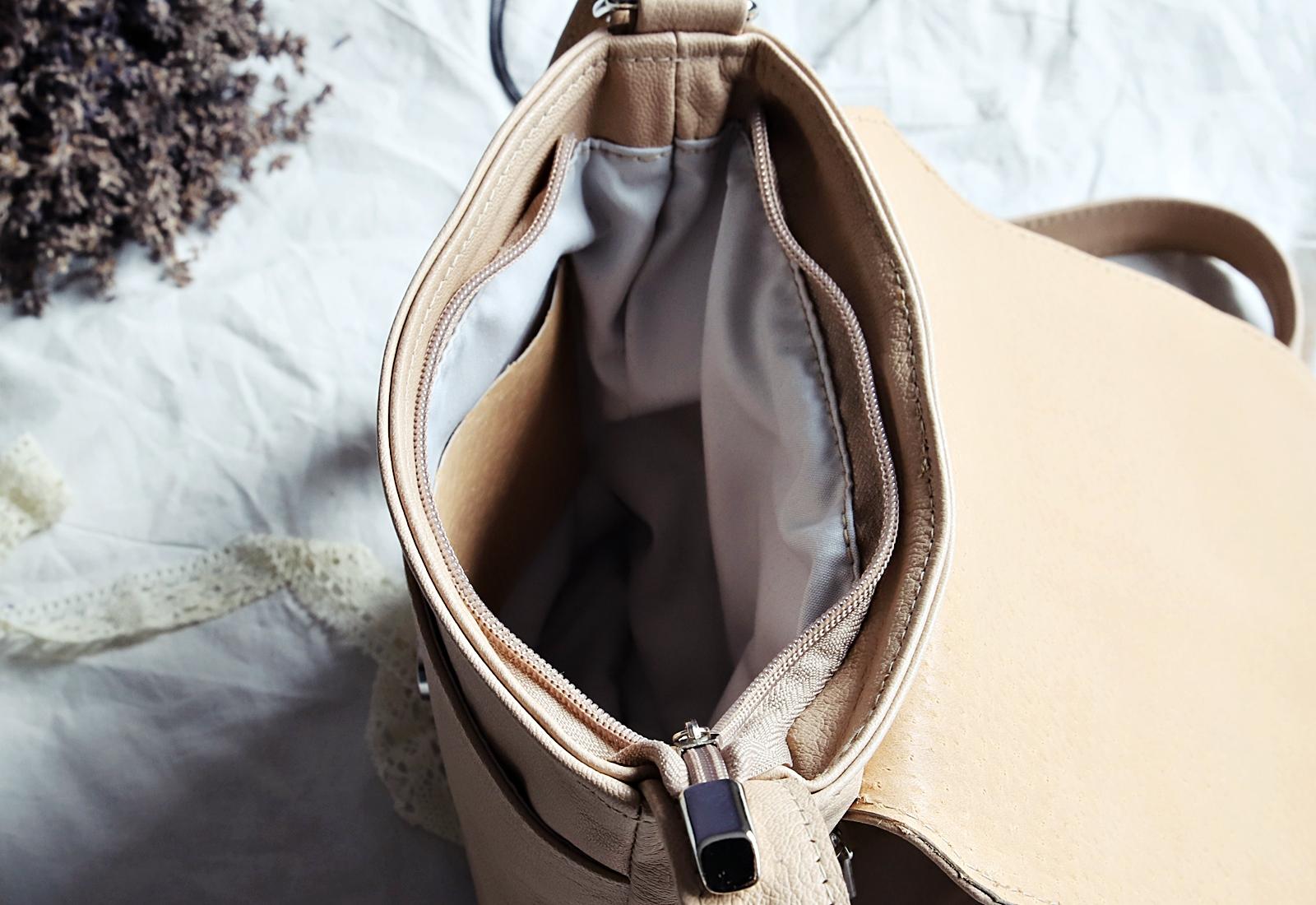 torebka skórzana MARY beż premium inside