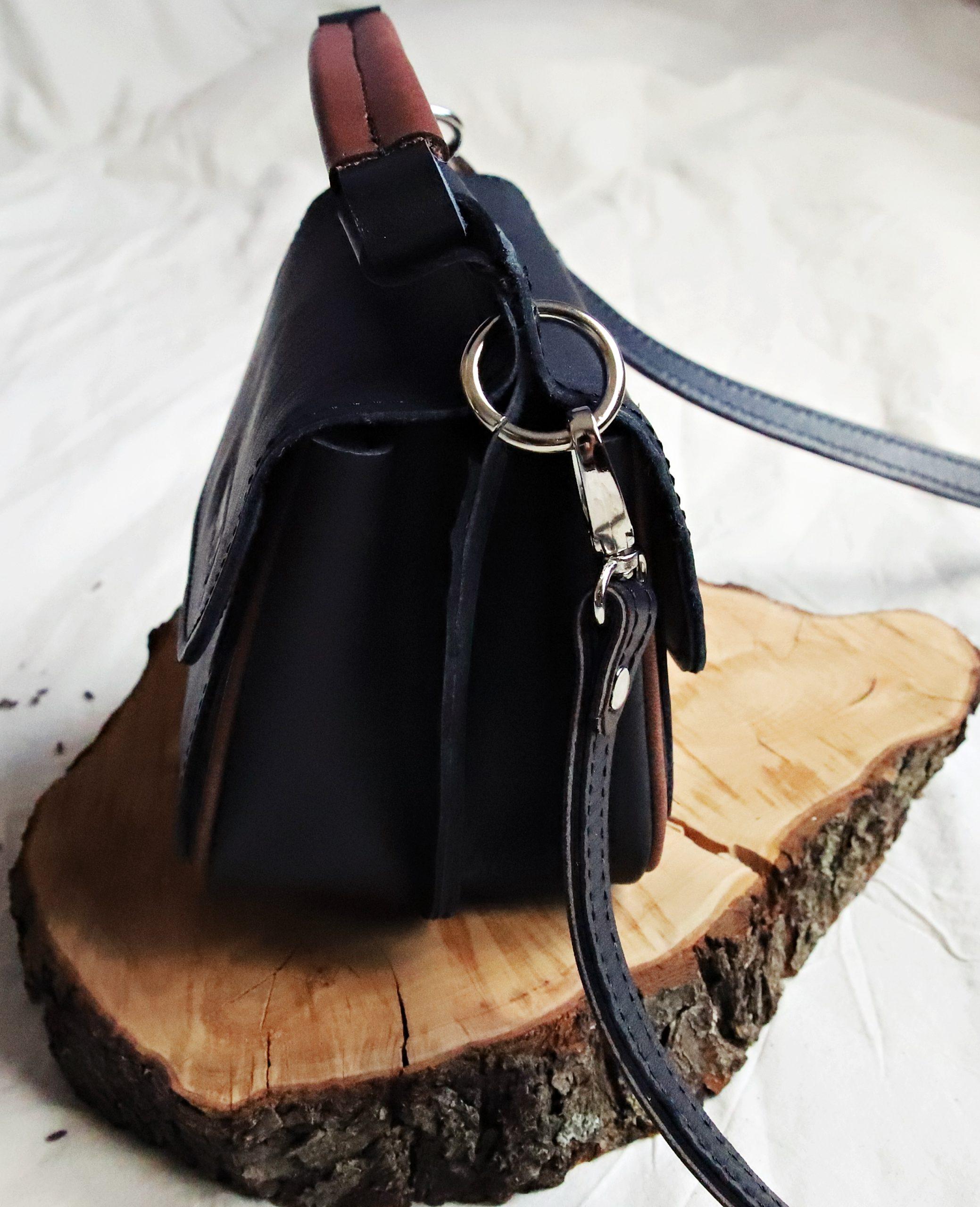 torebka skórzana twins black brown bok