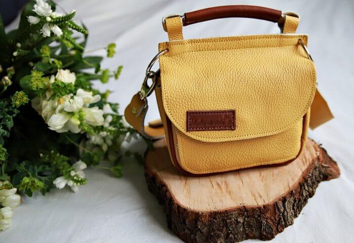 torebka skórzana TWINS żółta