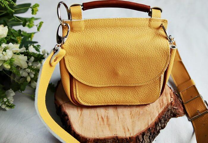 torebka skórzana TWINS żółta back