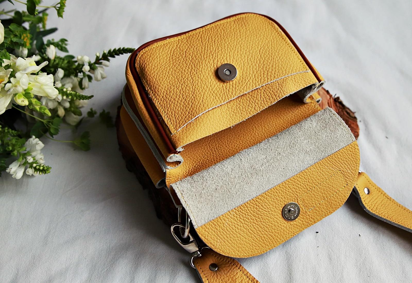 torebka skórzana TWINS żółta open