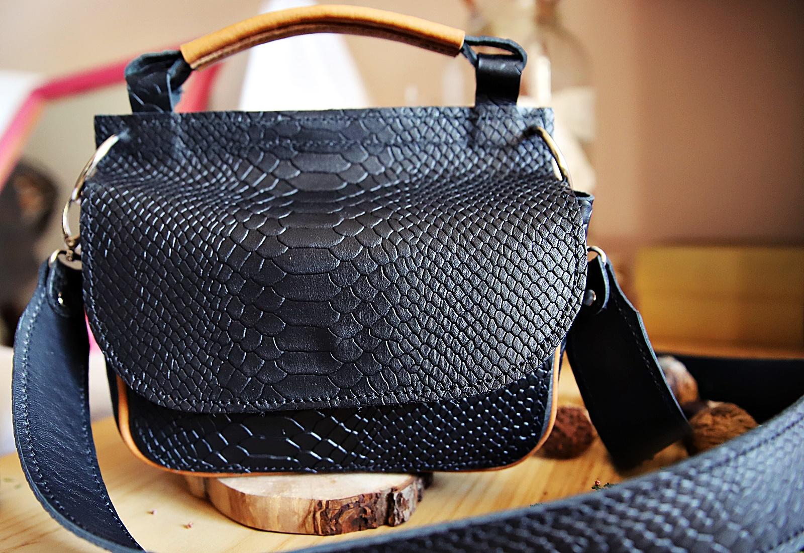 torebka skórzana Greta czarne kroko karmel