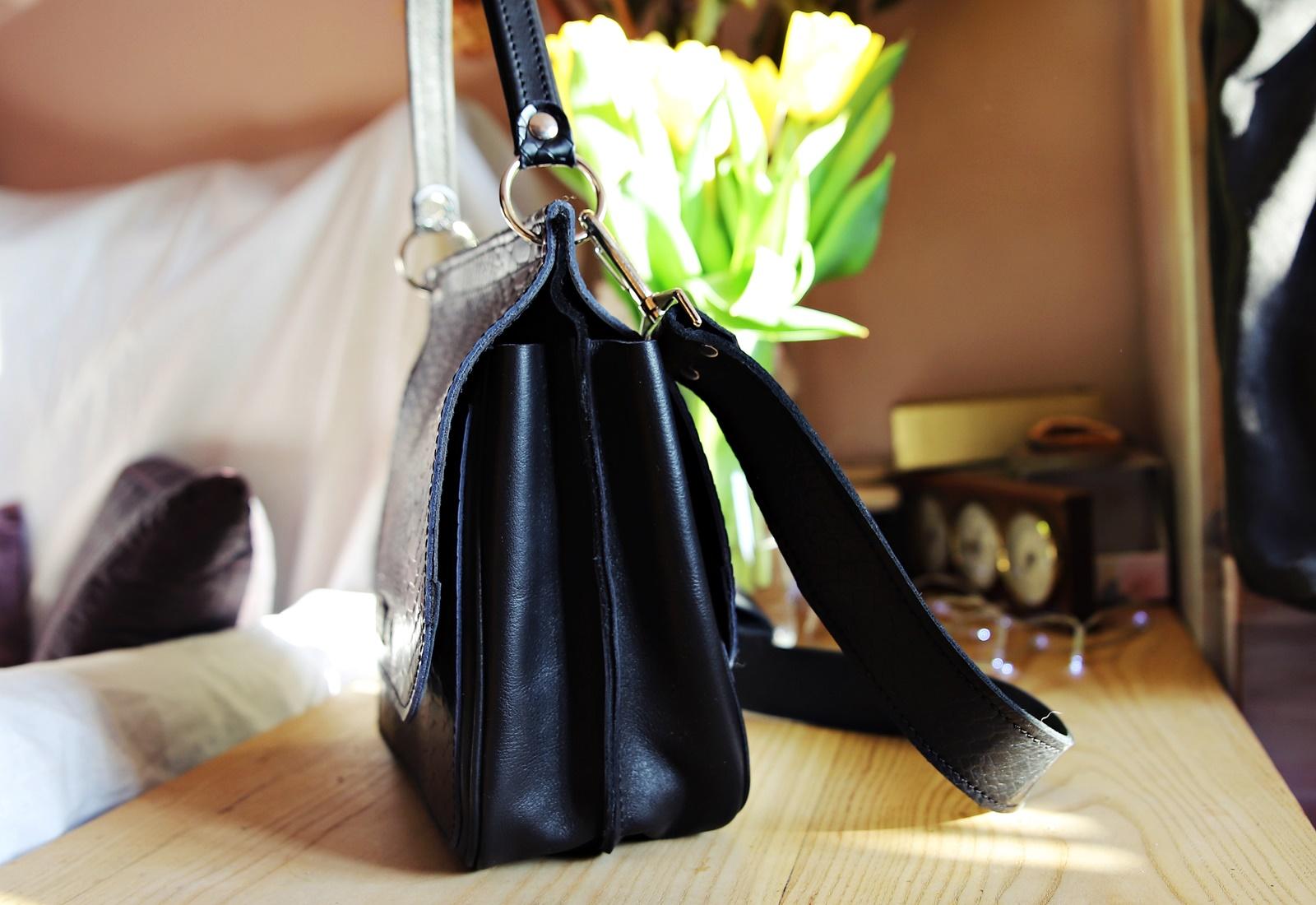 Czarna kroko torebka skórzana marlene