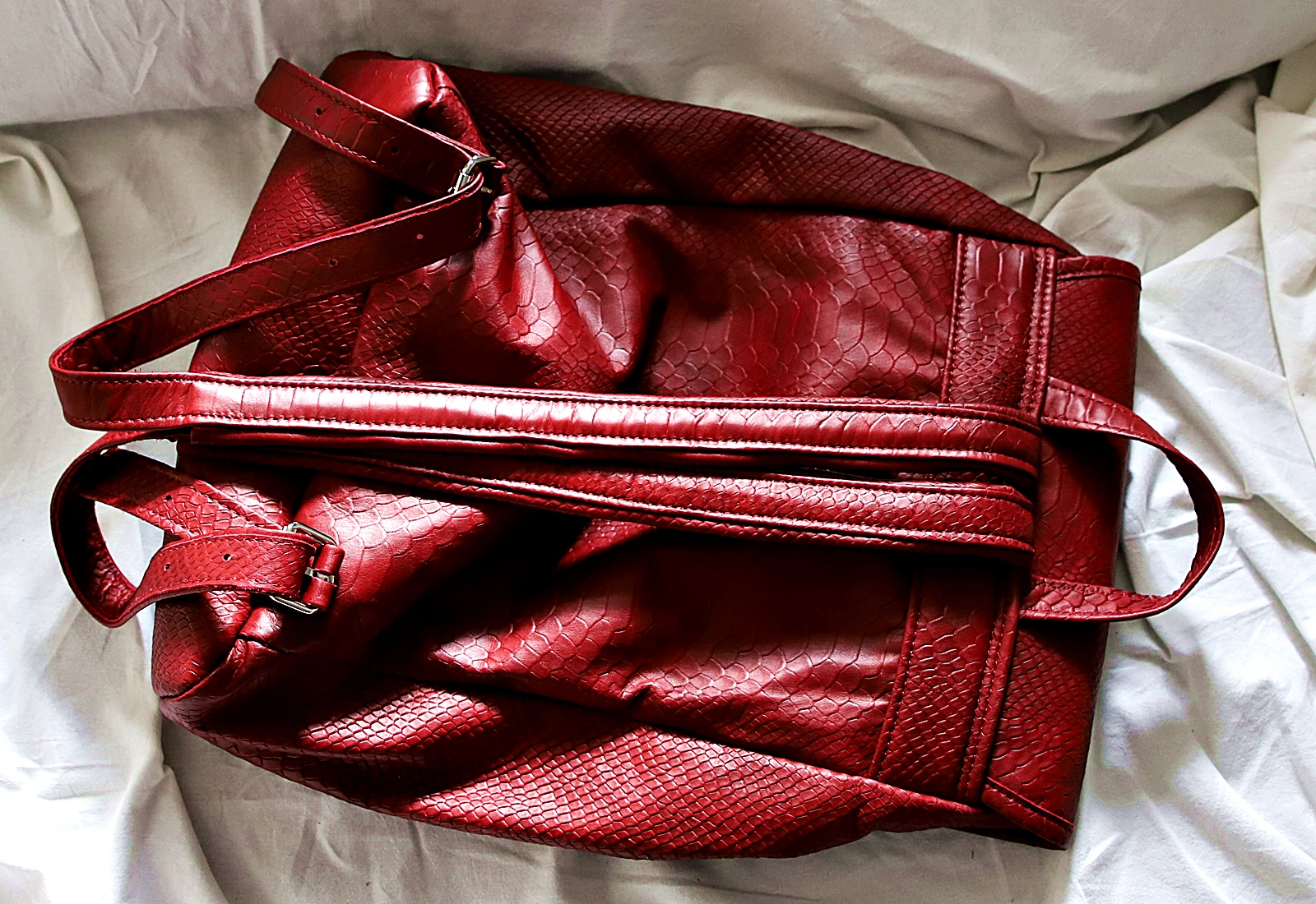 Plecak skórzany ZINA bordo tył