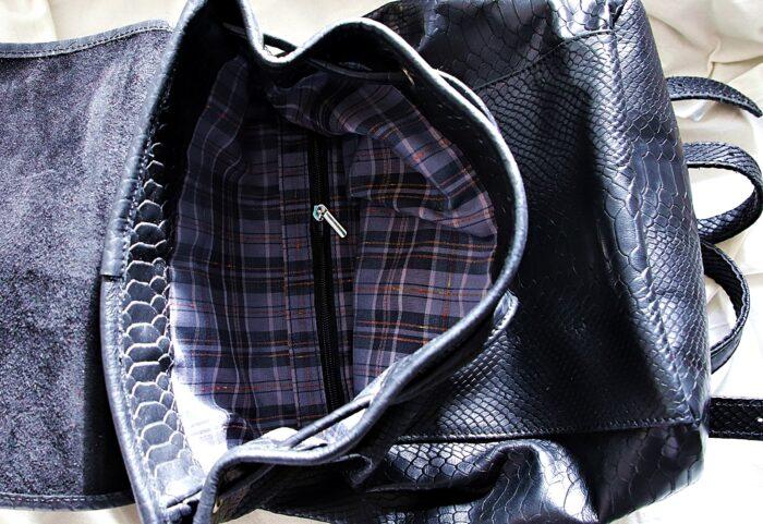 Plecak skórzany ZINA czarne kroko