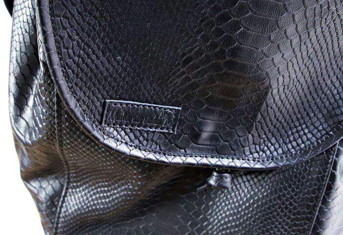 Plecak skórzany ZINA czarne kroko metka