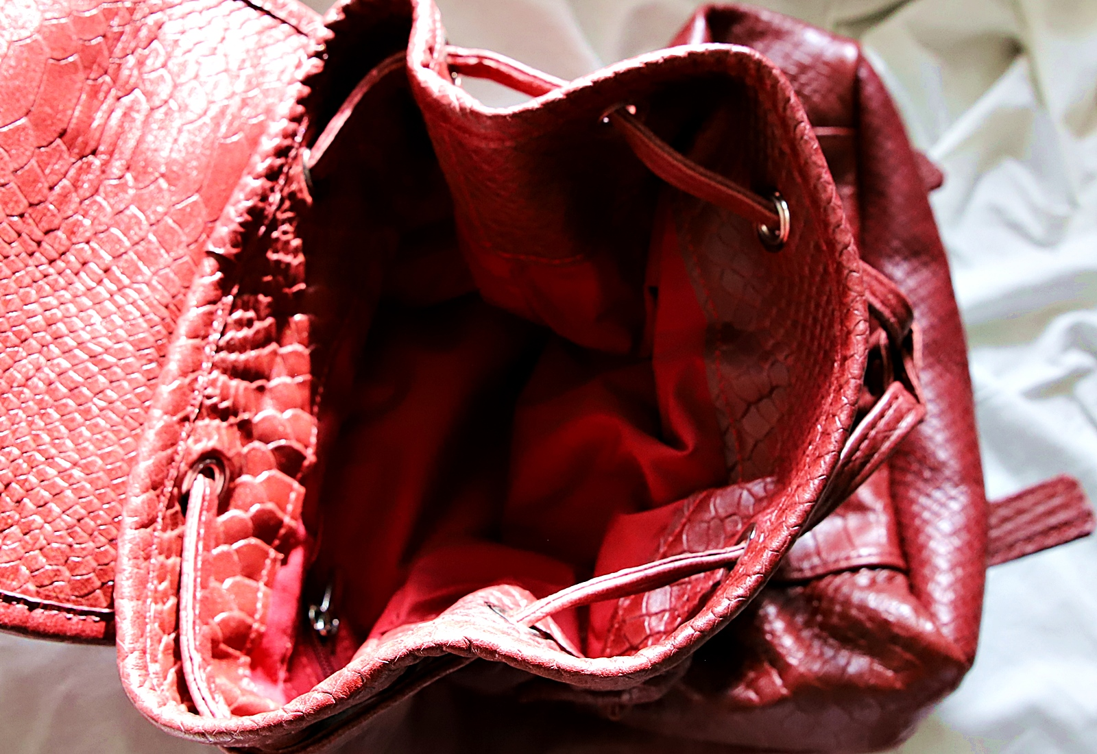 Plecak skórzany kroko bordo open