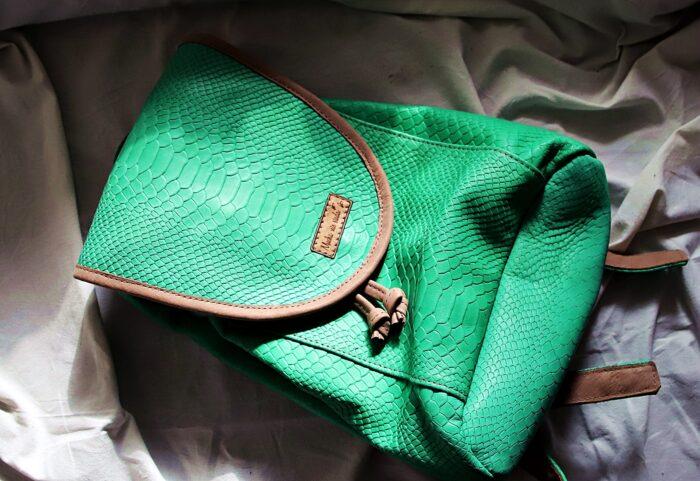 Plecak skórzany kroko zielony