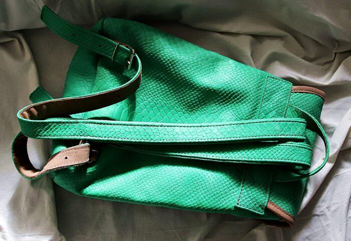 Plecak skórzany kroko zielony tył