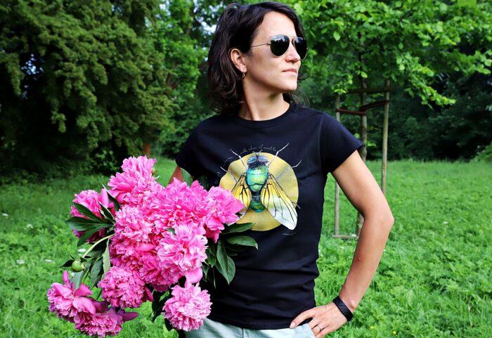 koszulka czarna-złota mucha