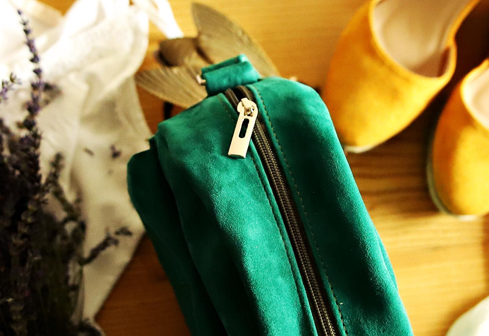 Torebka okrągła BETSY zielony zamsz zipp
